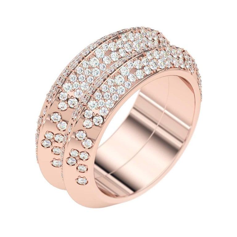 Lizunova Diamond Pave Rose Gold Engagement Bridal Band Ring