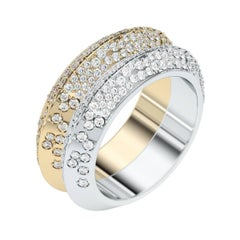 Lizunova Diamond Pave Yellow and White Gold Bridal Engagement Band Ring