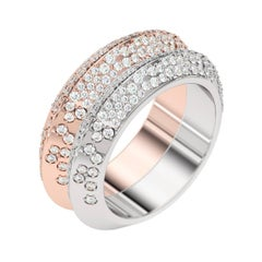 Lizunova Diamond Pave Rose and White Gold Bridal Ring