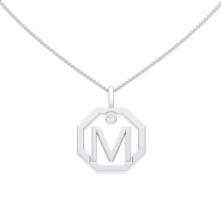 Lizunova Initial M Diamond Pendant in 18 Karat White Gold