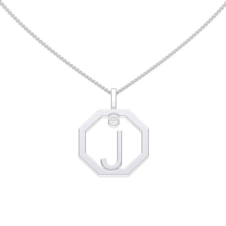 Lizunova Initial J Diamond Pendant in 18 Karat White Gold