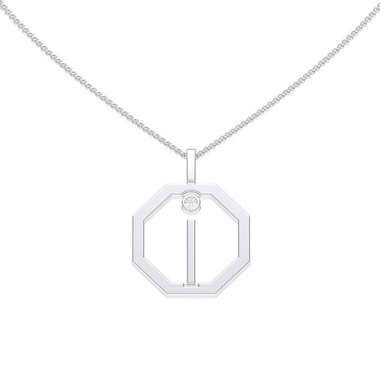Lizunova Initial I Diamond Pendant in 18 Karat White Gold