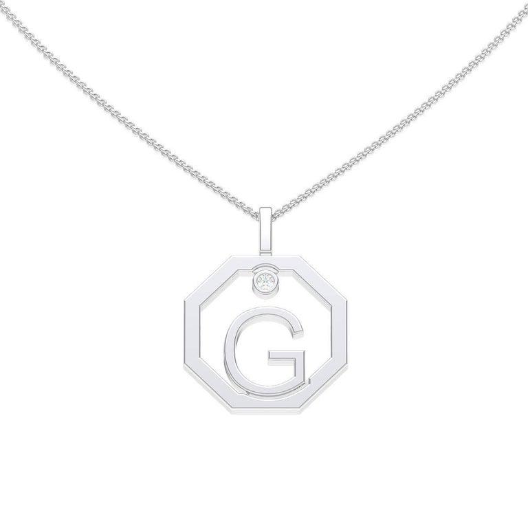 Lizunova Initial G Diamond Pendant in 18 Karat White Gold