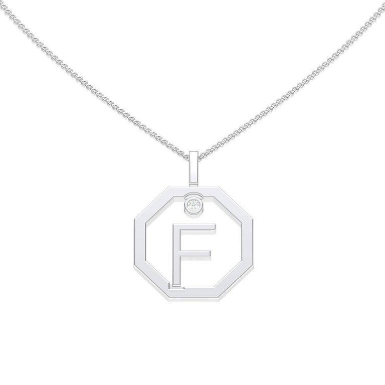 Lizunova Initial F Diamond Pendant in 18 Karat White Gold