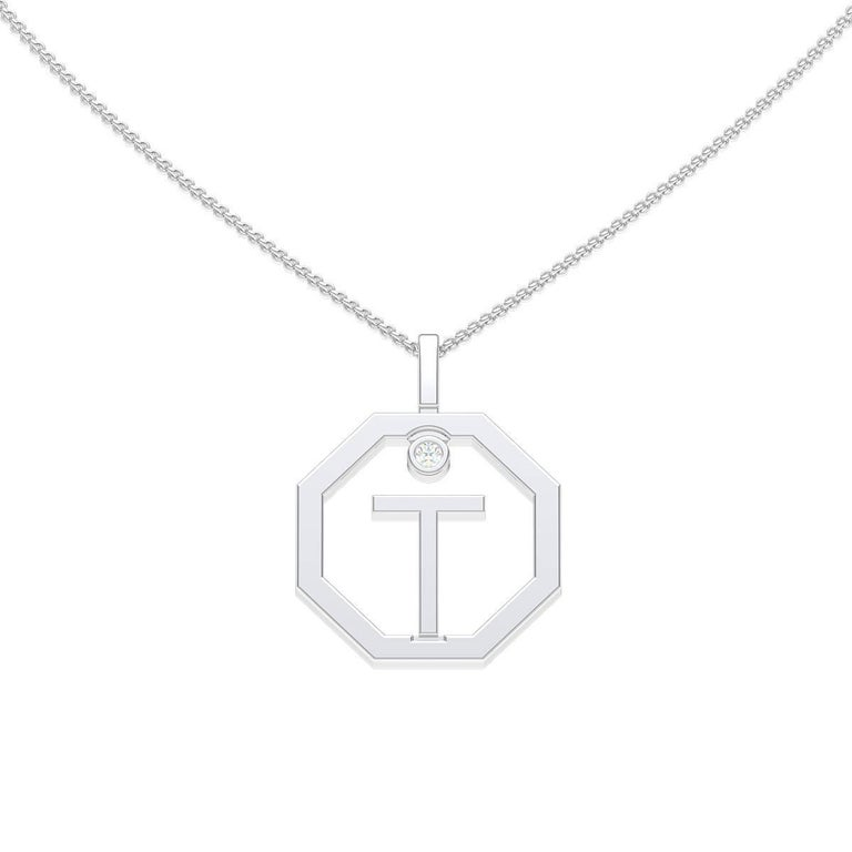 Lizunova Initial T Diamond Pendant in 18 Karat White Gold