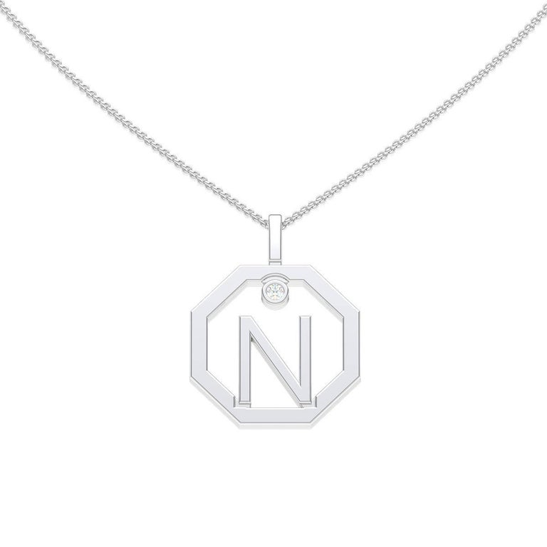 Lizunova Initial N Diamond Pendant in 18 Karat White Gold
