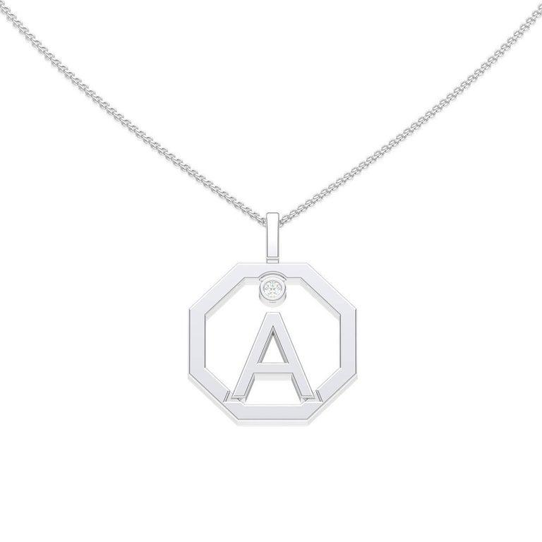 Lizunova Initial A Diamond Pendant in 18 Karat White Gold