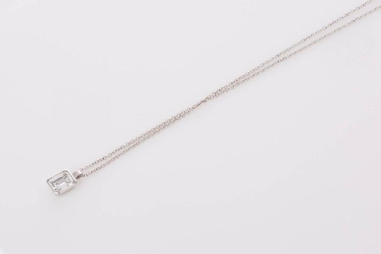 125 carat emerald cut diamond drop white gold pendant necklace for simple and stylish this elegant emerald cut diamond pendant weighs approximately 125cts h aloadofball Images