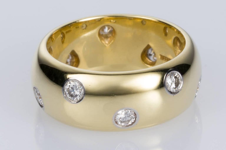 Contemporary Tiffany & Co. 18 Karat Yellow Gold Platinum and Diamond Etoile Wide Band Ring For Sale