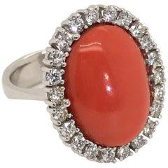 18 Karat White Gold Rubram Coral and Diamond Cocktail Ring