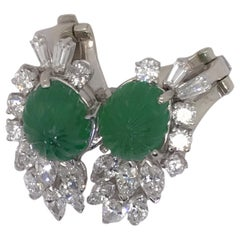 1950s Carved Emerald and 2.00 Carat Diamond Earclips