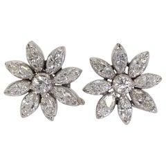 14 Karat White Gold Flower Stud Earrings