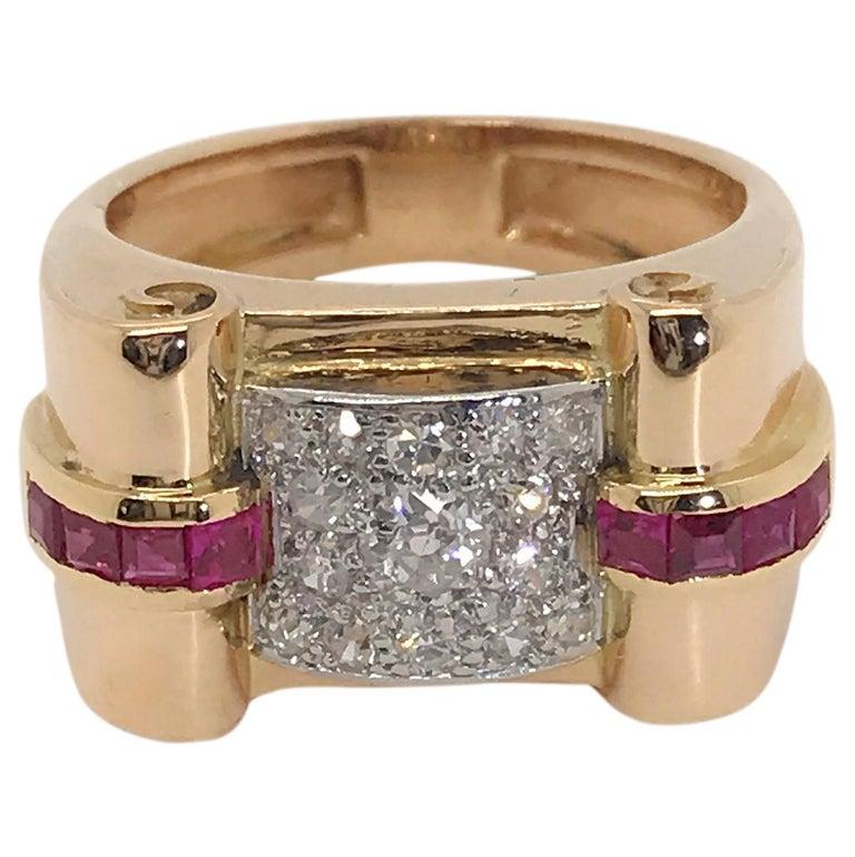 18 Karat Yellow Gold French Tank Diamond Ring