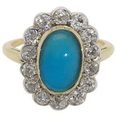 18 Karat Gold Turquoise and Diamond Dress Ring