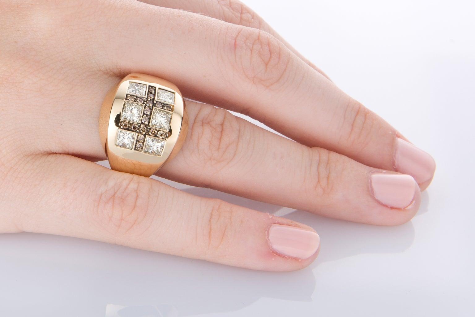 Luca Carati Bold Diamond Yellow Gold Dress Ring at 1stdibs
