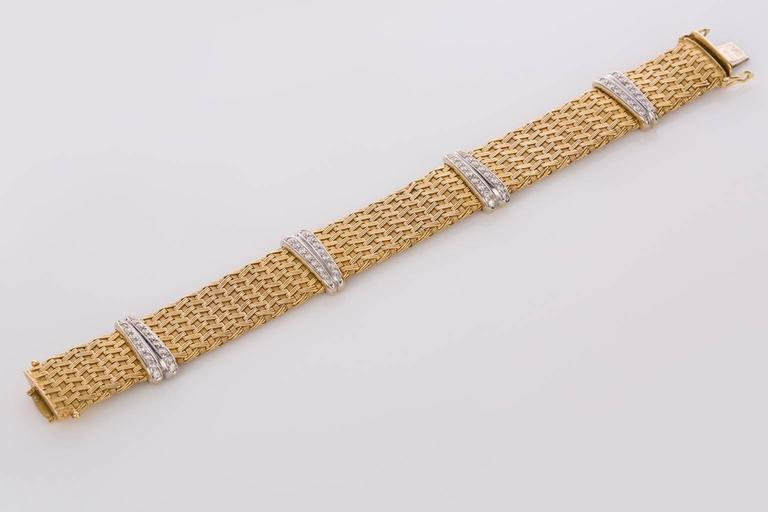 Contemporary Diamond Yellow Gold German Crafted Woven Flexible Bracelet For Sale