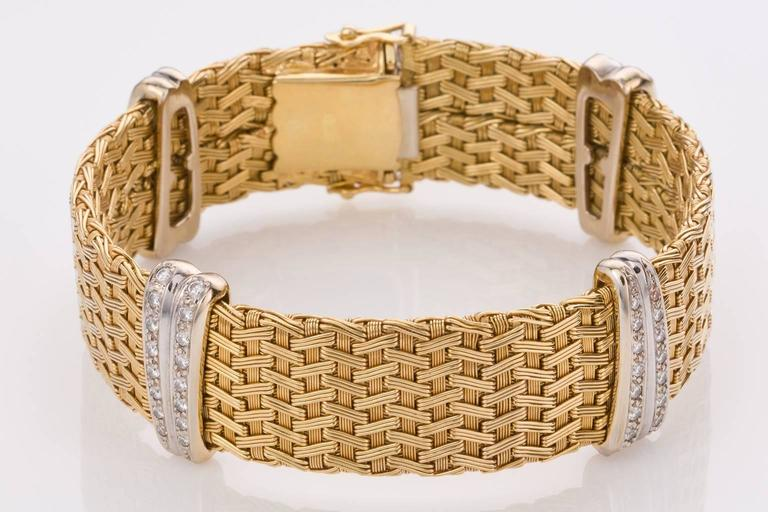 Diamond Yellow Gold German Crafted Woven Flexible Bracelet In Excellent Condition For Sale In Brisbane, AU
