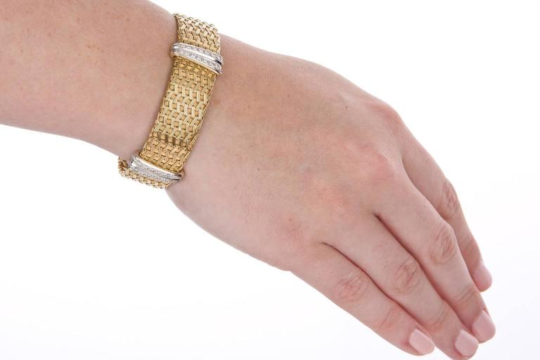 Women's or Men's Diamond Yellow Gold German Crafted Woven Flexible Bracelet For Sale