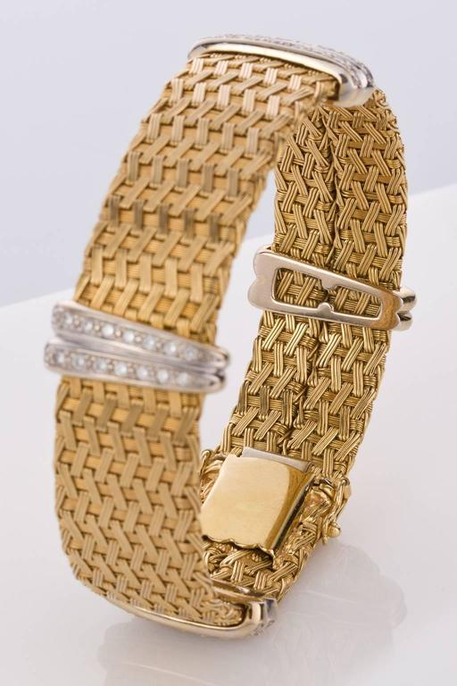 Diamond Yellow Gold German Crafted Woven Flexible Bracelet For Sale 1