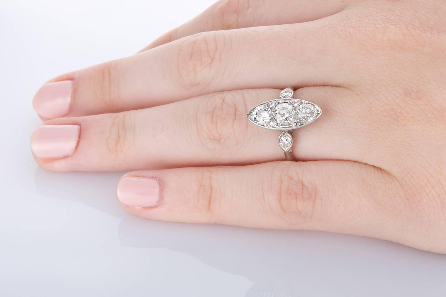 Edwardian Marquise Shaped Diamond Platinum Engagement Ring at 1stdibs
