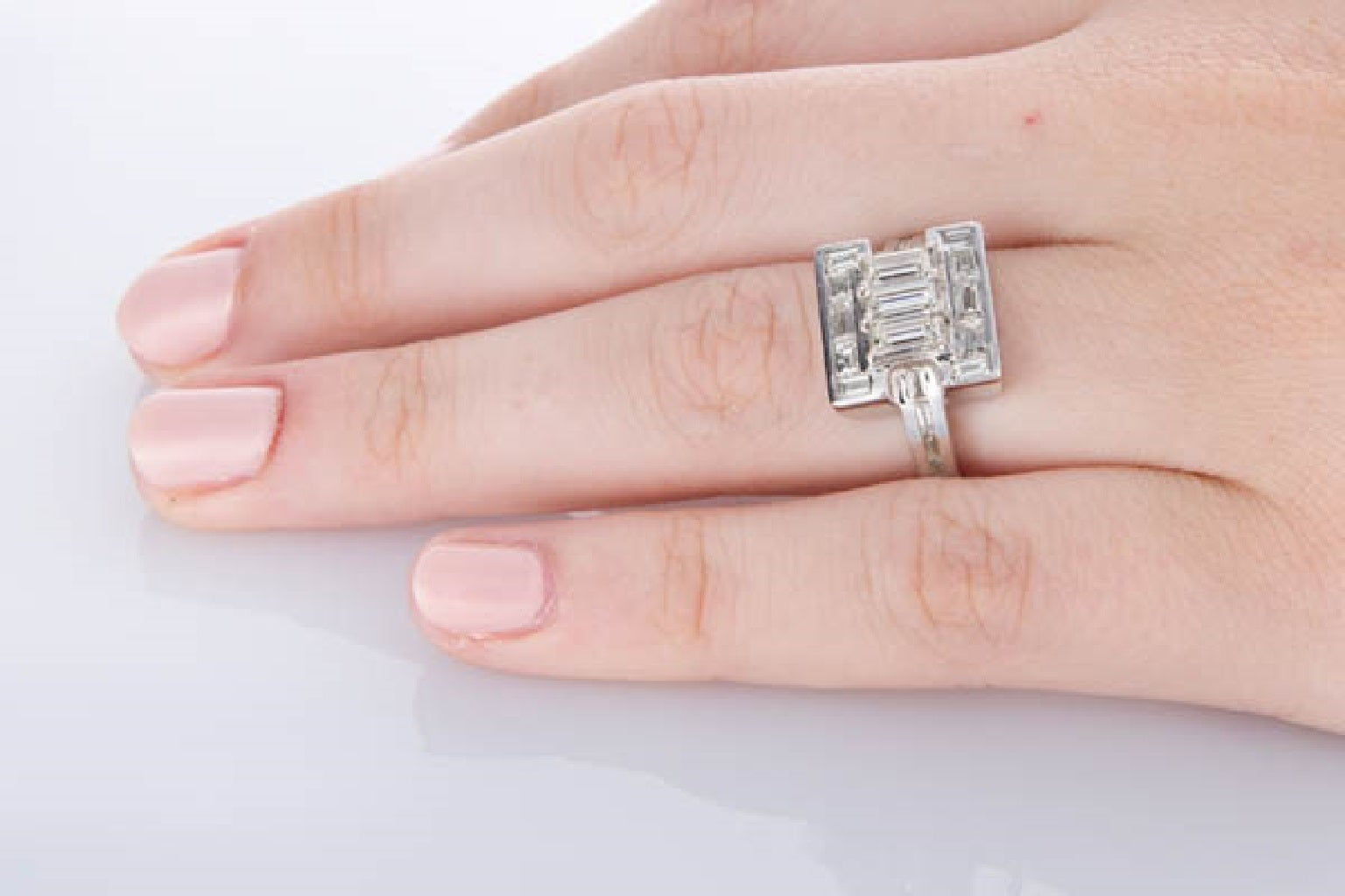 Baguette Cut Diamond White Gold Dress Ring For Sale at 1stdibs