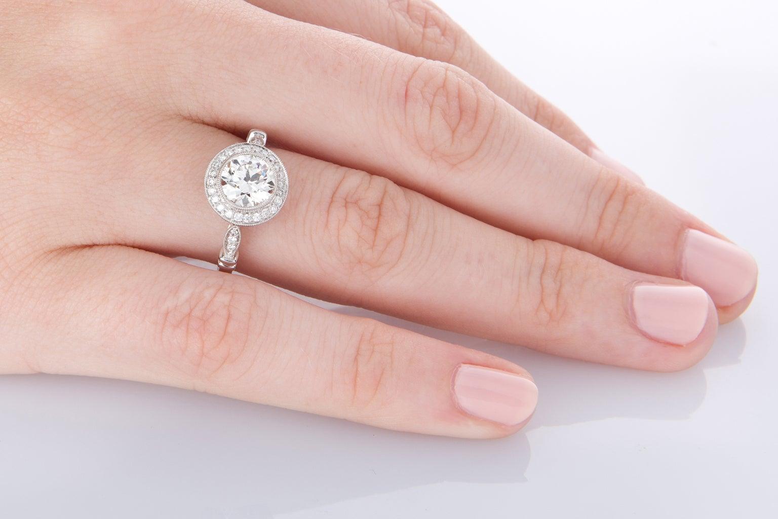 1.22 Carat Old European Cut Diamond Halo Platinum Engagement Ring ...