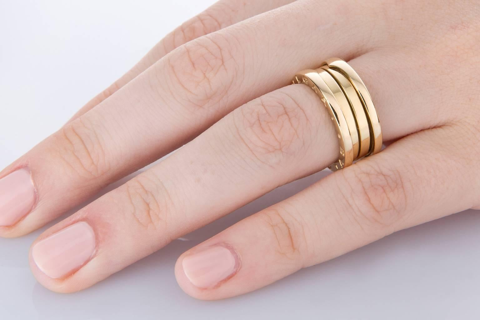 Bulgari B Zero Three-Band 18 Karat Yellow Gold Ring at 1stdibs