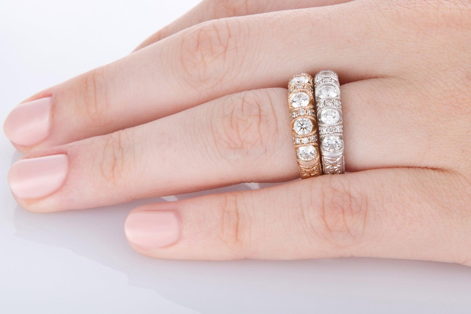 Set of Engraved 18 Karat Yellow White Rose Gold Diamond Eternity ...