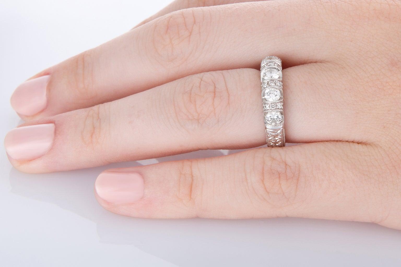 18 Karat White Gold Engraved Eternity Ring For Sale at 1stdibs