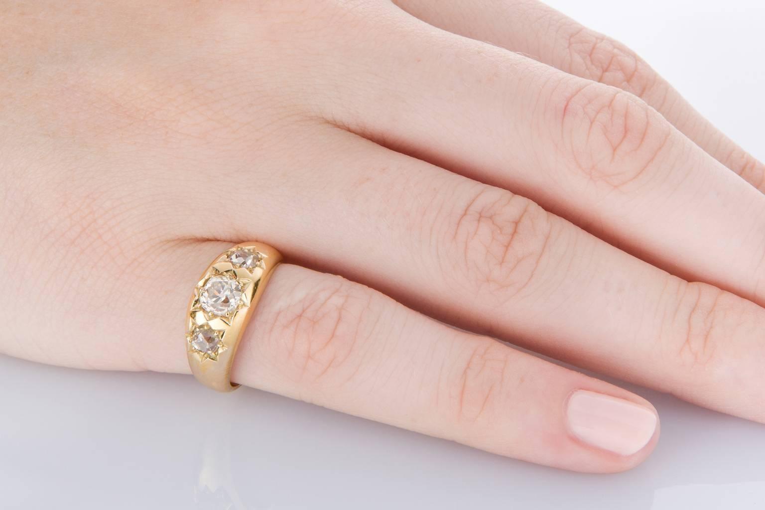 Circa 1890 Antique Diamond Three-Stone Yellow Gold Engagement Ring ...
