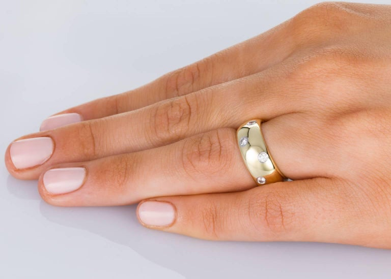 Tiffany & Co. 18 Karat Yellow Gold Platinum and Diamond Etoile Wide Band Ring In Excellent Condition For Sale In Brisbane, AU