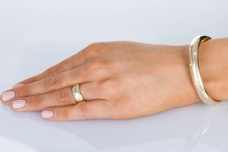 Women's Tiffany & Co. 18 Karat Yellow Gold Platinum and Diamond Etoile Wide Band Ring For Sale