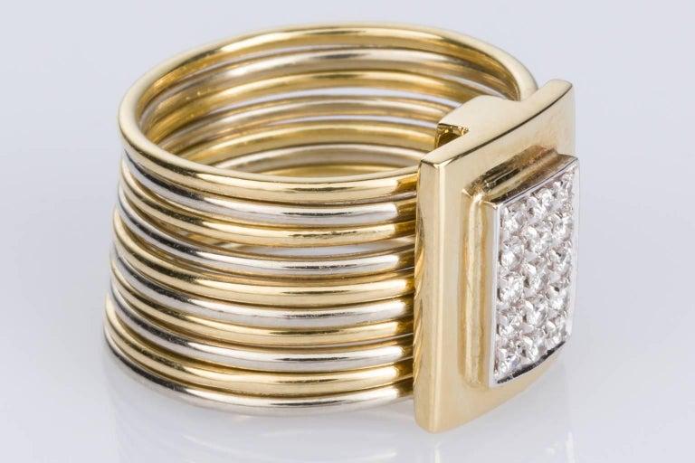 Women's Damiani Multi-Band 18 Karat Yellow and White Gold Diamond Ring For Sale