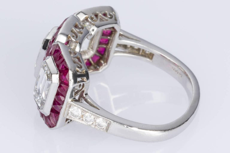 1.95 carat Emerald Cut Diamond and Ruby Platinum Engagement Ring In Excellent Condition For Sale In Brisbane, AU