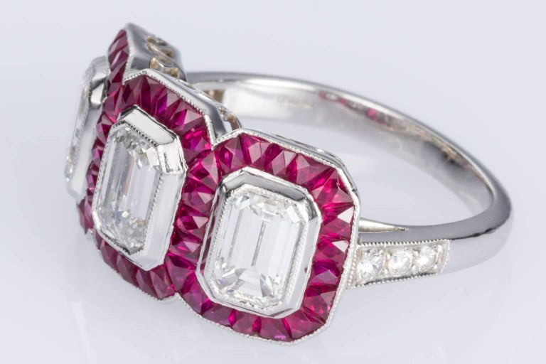 Women's 1.95 carat Emerald Cut Diamond and Ruby Platinum Engagement Ring For Sale
