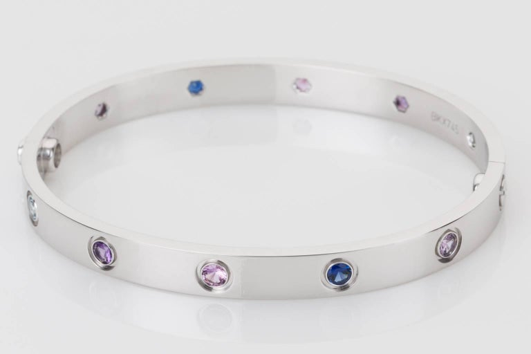 Contemporary Cartier Multi-Gem Set Love Bangle 18 Karat White Gold For Sale