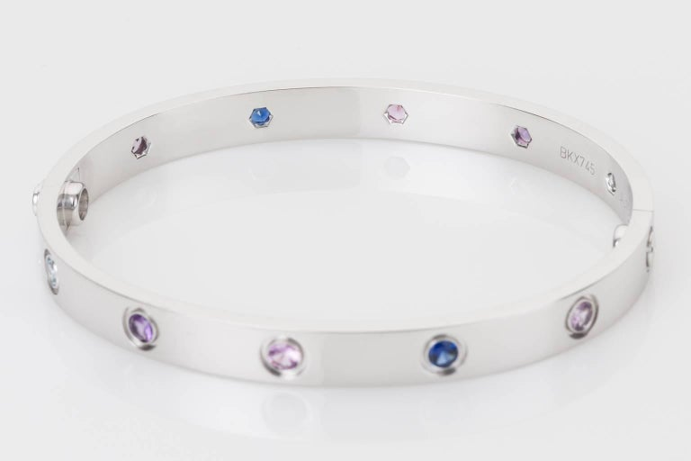Round Cut Cartier Multi-Gem Set Love Bangle 18 Karat White Gold For Sale