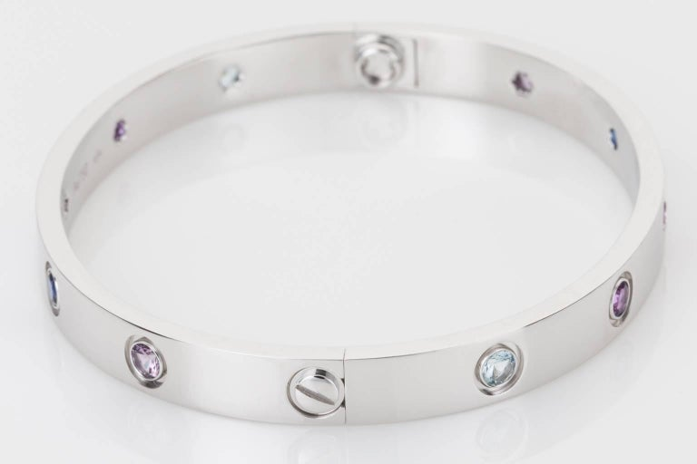 Cartier Multi-Gem Set Love Bangle 18 Karat White Gold In Excellent Condition For Sale In Brisbane, AU