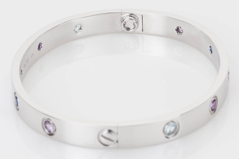 Women's Cartier Multi-Gem Set Love Bangle 18 Karat White Gold For Sale