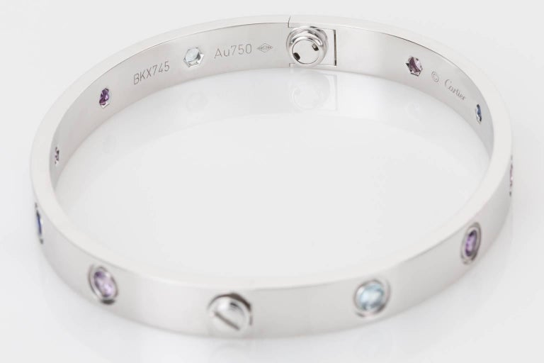 Cartier Multi-Gem Set Love Bangle 18 Karat White Gold For Sale 1