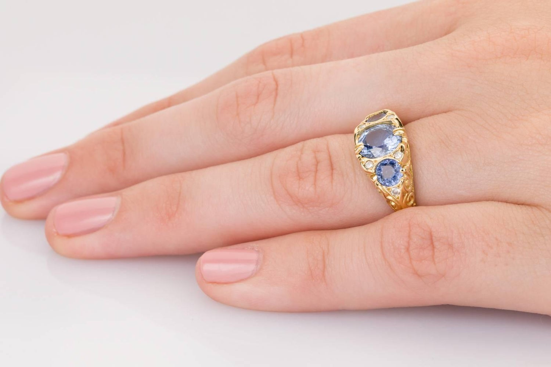 Ceylon Sapphire and Diamond Three-Stone Ring For Sale at 1stdibs