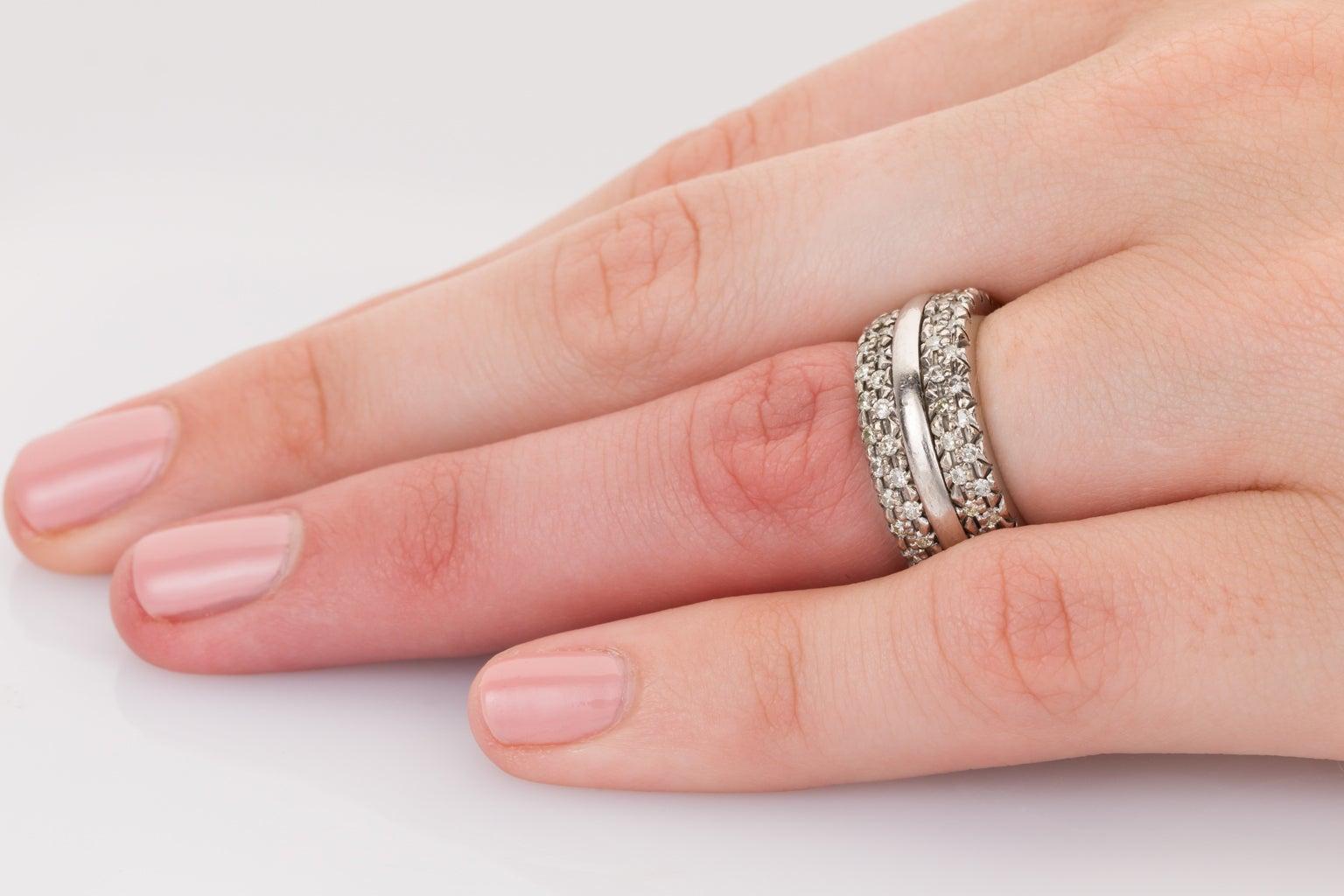 18 Carat White Gold Pave Set Diamond Band Ring at 1stdibs
