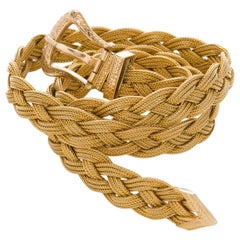 14 Karat Yellow Gold Woven Braided Choker Necklace