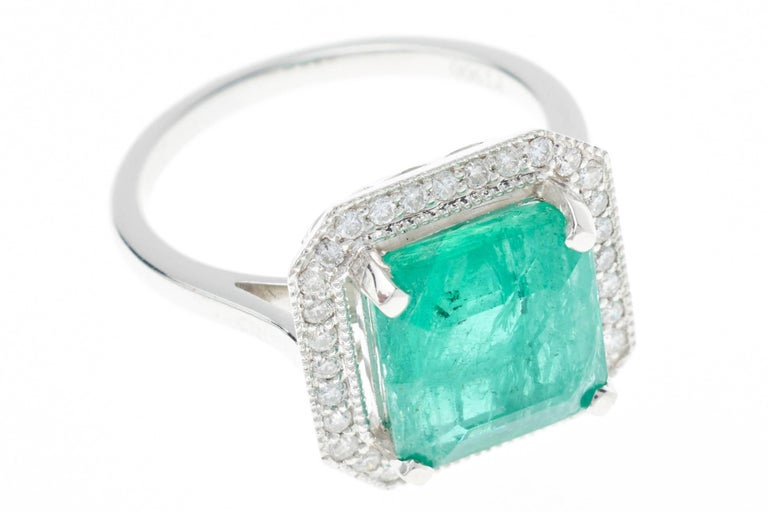 emerald ring square cut 4 85 carat for sale at 1stdibs