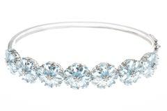 Aquamarine Diamond Floral Cluster 18 Carat White Gold Bangle Bracelet
