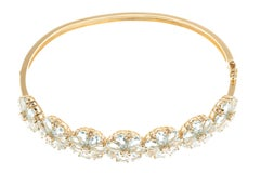 Aquamarine Diamond Floral Cluster 18 Carat Yellow Gold Bangle Bracelet