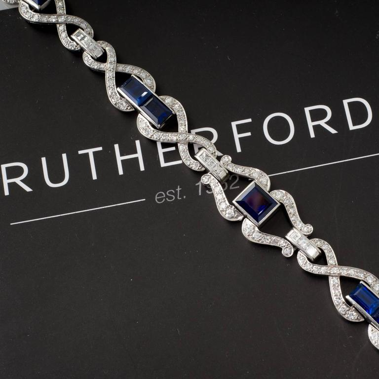 Art Deco Sapphire Diamond and Platinum Bracelet 5