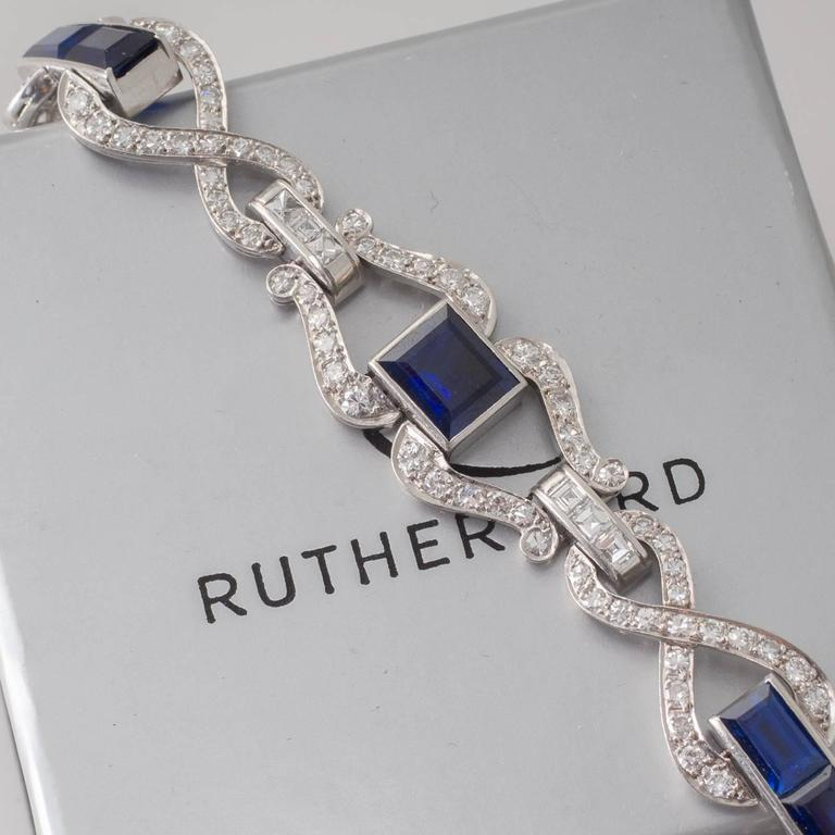 Art Deco Sapphire Diamond and Platinum Bracelet 6