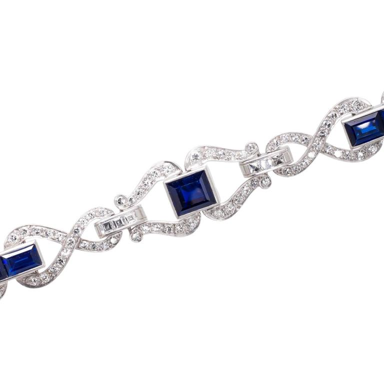 Art Deco Sapphire Diamond and Platinum Bracelet 1
