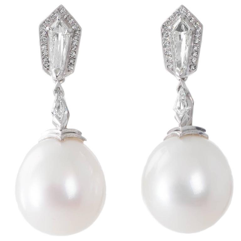 Australian White South Sea Pearl  Diamond Pendant Earrings 1